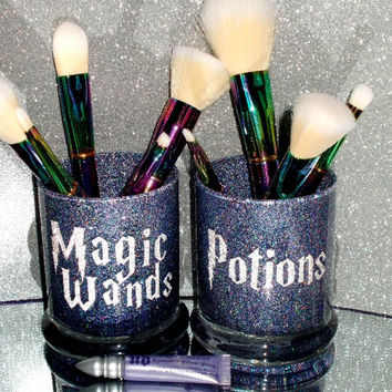 2PC Harry Potter Wand & Potions Makeup Brush Holder Set - YOU CUSTOMIZE!