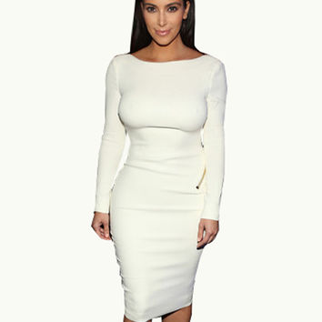 Hot Fashion Women Sexy Long Sleeve Backless Bodycon Dress Metallic Open Back Knee Length Sheath Kim Kardashian Dress 704