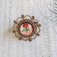 Red Rose Ring, Adjustable Ring, Victorian Inspired Ring, Garden Ring, Garden Jewelry, Red Ring, Victorian Ring, Flower Ring, Flower Jewelry