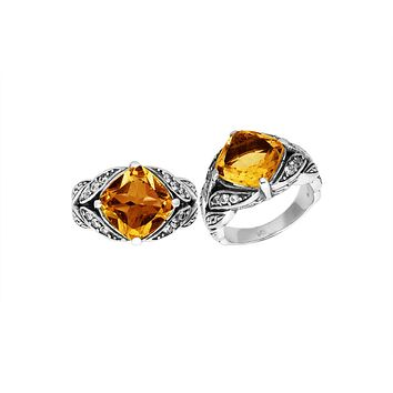 """AR-6233-CT-10"""" Sterling Silver Ring With Citrine"""
