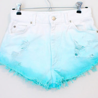 Dip Dyed Turquoise High Waisted Shorts