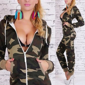 Summer Women Sexy Elegant Long Sleeved Camouflage Zipper Jumpsuit = 1931944516
