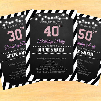 30th birthday invitation woman, personalized invitations, adult birthday invitation, 30th 40th 50th 60th and any age, 40th birthday invite