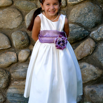 Gorgeous  Ivory Poly Silk Flower Girl Dress with Organza Sash
