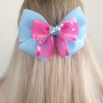 Fairy Godmother Blue and Pink Sheer Bow with Magic Wand, Bibbid Bobbidi Boo by Design Bowtique