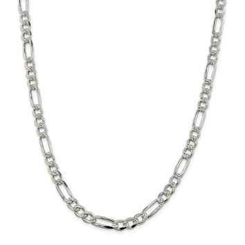 925 Sterling Silver 7.25mm Pave Flat Figaro Chain Necklace, Bracelet or Anklet