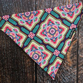 Floral Geometric Over the Collar Dog Bandana