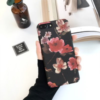 Fashion Cartoon Flower Case For iphone 7 Case For iphone7 6 6S Plus Phone Cases Classics Black Floral Back Cover Cute Capa -0318