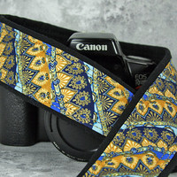 dSLR Camera Strap, Middle Eastern, Indian Inspired, Royal, Aqua, Metallic Gold,  205 w