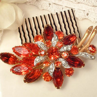 Vintage Orange Rhinestone Gold Bridal Hair Comb - Heirloom Large Brooch to OOAK Haircomb Wedding Accessory, Persimmon Burnt Orange Headpiece