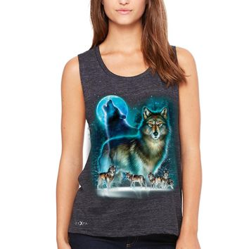 Zexpa Apparel™ Moonlight Wolf Women's Muscle Tee Native American Dream Catcher Tanks