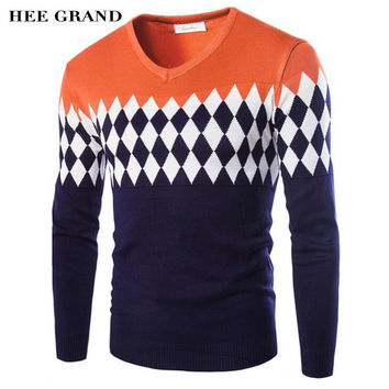 Men's Casual Slim V-Collar Argyle Pattern Pullover Sweater M-XXXL