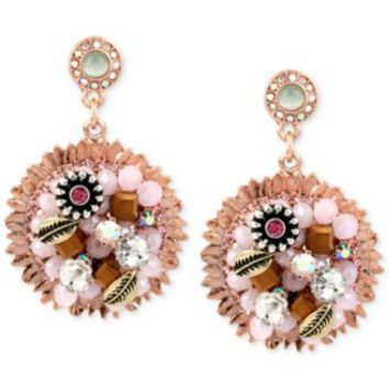 Betsey Johnson Rose Gold-Tone Woven Flower Charm Drop Earrings | macys.com