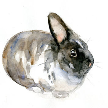 Rabbit Watercolor painting. Animal painting on sturdy cardboard. Bunny Pluis art by Michelle Dujardin