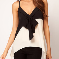 Black and White Spaghetti Strap Bow Tie Neckline Cami Top
