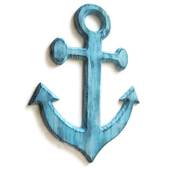 Anchor Wall Decor distressed rustic nautical wall hanging hand painted in pale blue and grey, shabby wooden anchor for chic beach decor