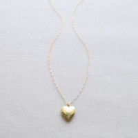Brass Heart Locket Necklace