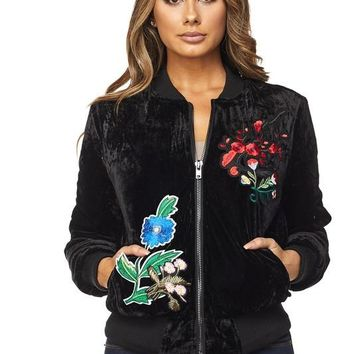 Flower Patch Velvet Bomber Jacket