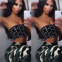 Fashion Hot Sexy Cotton Crop Top Bandeau Figure Print Tube Top Backless Cropped Strapless Tube Bra