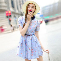 Floral Pointed Flat Collar Short Sleeve A-Line Mini Skater Dress
