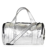 Barrel Metallic Luggage - Silver