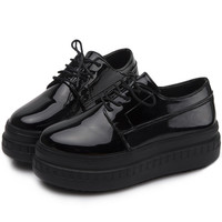 Patent Leather Casual Creeper Shoes