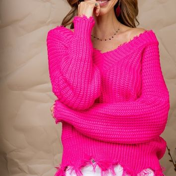 From The Start Sweater - Neon Pink