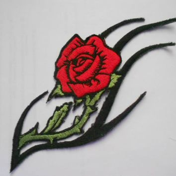 large Rose Patch Flower Tribal Rose Large Patch Embroidered Patch Jacket patch Biker patch Red Rose patch