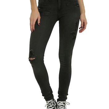 Blackheart Black Zipper Deconstructed Stingerette Jeans