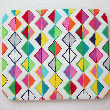 Geometric Mouse Pad mouse pad / Mat - diamonds, triangles, lines pink green aqua - round or rectangle - office accessories desk home decor