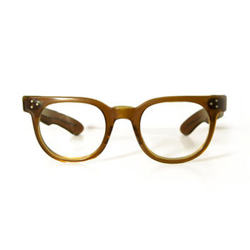 1950s OTE Tart Optical F.D.R. Smoke Brown Horn Rimmed Eye Glasses