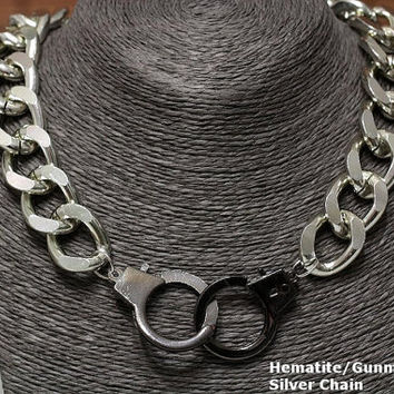 Silver Gold Chunky Handcuff Choker Necklace Metal Curb Chain Hematite Gunmetal HandCuffs Cuff Pendant