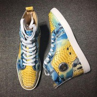 DCCK Cl Christian Louboutin Python Style #2253 Sneakers Fashion Shoes