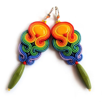 Multicolor RAINBOW soutache earrings colorful handmade embroidery green blue red yellow orange satin strips TOHO oaak gift for her under 50