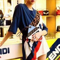 Fendi 2019 early spring new F letter contrast color thin section head long knit short-sleeved shirt