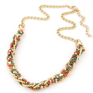 Fashion Bohemian Vintage Gold Chain Seed Beads Statement Necklaces & Pendants for Women Ethnic Jewelry 2015 collier femme