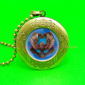 harry potter rowena ravenclaw eagle pendant locket necklace,house of hogwarts school of witchcraft and wizardry locket