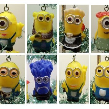 "Despicable Me Holiday Christmas Tree 10 Piece Ornament Set Featuring 2"" Plastic Shatterproof Minion Ornaments"