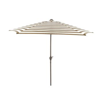 9' Outdoor Patio Market Umbrella with Hand Crank and Tilt - Taupe and White Stripe
