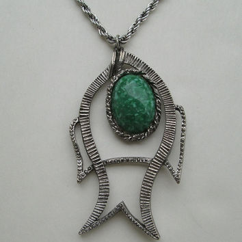 Large Green Art Glass Pendant Necklace Fish Icthus Vintage Jewelry