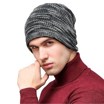 2018 Autumn Winter Hats Men Hot Sale Thick Velvet Colorful Knitted Caps Men's Outdoor Wool Caps Cashmere Winter Beanie