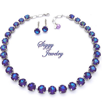 Swarovski Crystal Necklace, 11mm (48ss) Ultra Purple AB Chatons, Iridescent Purple Blue Tones, Chunky Large Crystal Statement Necklace