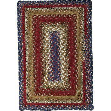 Homespice Decor Cotton Braided Log Cabin Step Area Rug