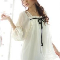 Korean Style Elegant Chiffon Dress White V10071603-1