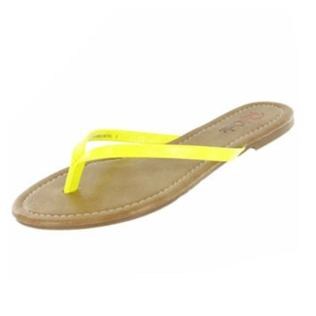 Forever Faithful Classic Strap Neon Yellow Flip Flops, Sandals