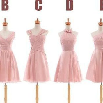 2014 Cheap Short Chiffon Bridesmaid Dresses Custom Made A Line Gown For Wedding Party Gown