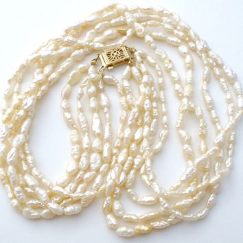 Five Strand Freshwater Pearl Necklace 14K Gold