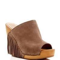 Dolce Vita Cai Suede Fringe Wedge Slide Sandals | Bloomingdales's