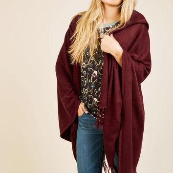 Upstate Swank Shawl in Burgundy