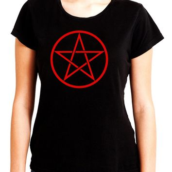 Red Woven Pentacle Women's Babydoll Shirt Top Witchy Clothing